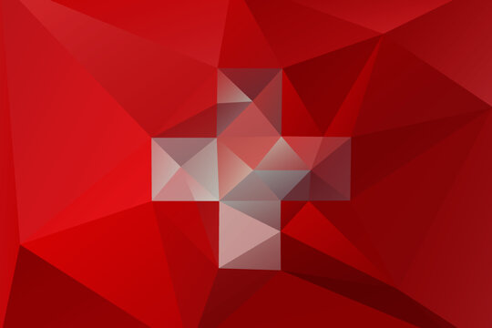 National Swiss flag in low poly style with triangular shapes.