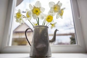 Flowers in tea pot