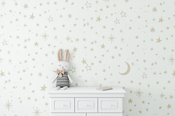 Fototapeta Empty wall with childrens wallpaper golden stars