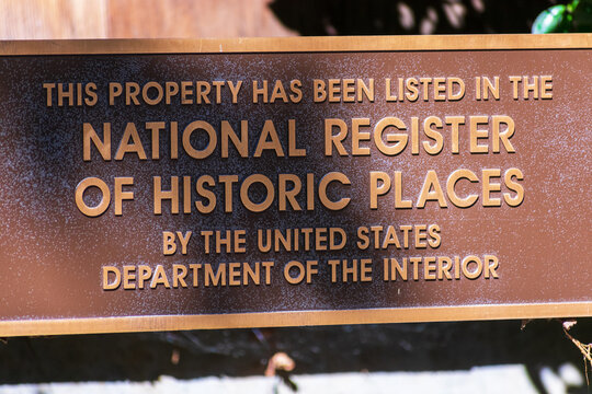 National Register of Historic Places plaque. A typical sign found on properties listed in NRHP by The United States Department of the Interior - San Francisco, California, USA - 2021