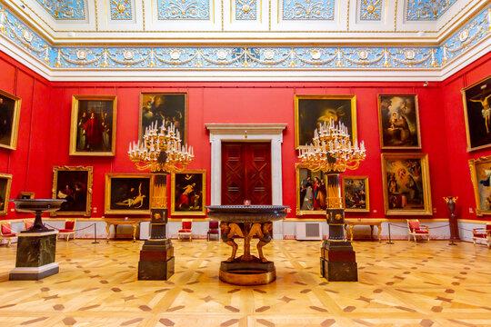 Saint Petersburg, Russia - April 2021: Small Italian Skylight Room in Hermitage museum