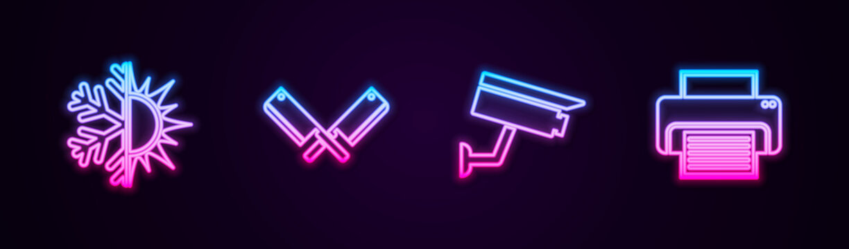 Set line Sun and snowflake, Crossed meat chopper, Security camera and Printer. Glowing neon icon. Vector