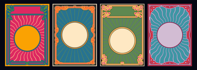 Psychedelic Color Art Nouveau Background Set, Templates for Retro Posters and Covers