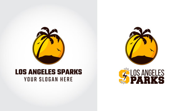Los Angeles Sparks Two Logos with Different Style