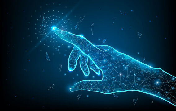 Touch the future low poly hand wireframe. Vector polygonal image in form of starry sky or space, consisting of points, lines, and shapes with destruct shapes. Futuristic concept vector illustration