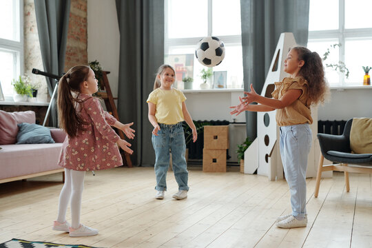 Girls playing in ball