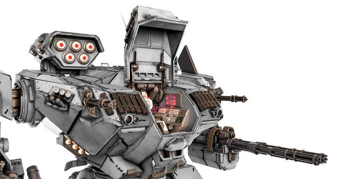xtreme war machine with hatchdoor open in white background