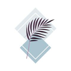 Fototapeta Egzotyczne palmowe liście w odcieniach fioletu. Botaniczna ilustracja tropikalnej rośliny z niebieskimi kwadratami na białym tle.