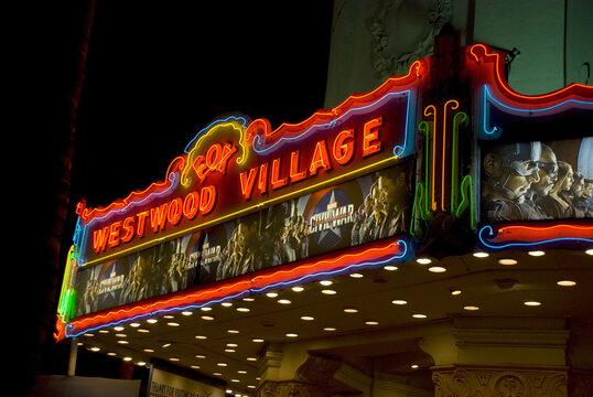 WESTWOOD VILLAGE, UNITED STATES - May 25, 2016: Illuminated Westwood Village movie theatre at night, Los Angeles