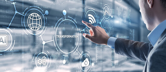 Fototapeta Business Digital Transformation. Future and Innovation Internet and network concept. Technology background obraz