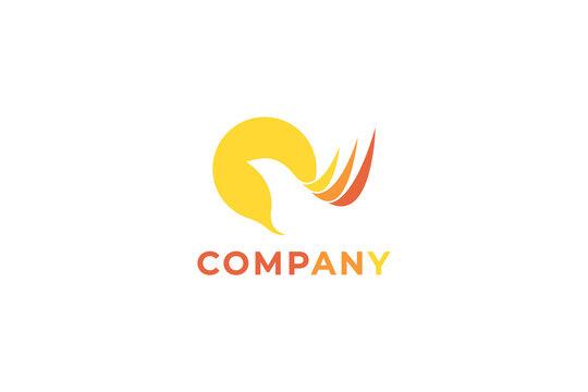 unique elegant yellow bird logo design identity