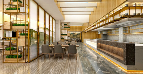 3d render of luxury restaurant cafe interior