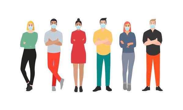 Personas con mascarillas. Hombres y mujeres que usan mascarilla para protección contra virus, contaminación del aire urbano, smog, vapor, emisión de gases contaminantes. Ilustración vectorial