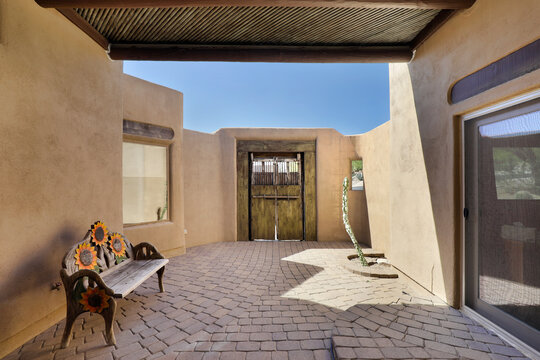 Courtyard with adobe walls