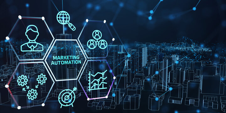 Planning marketing strategy. Business, Technology, Internet and network concept. Marketing automation