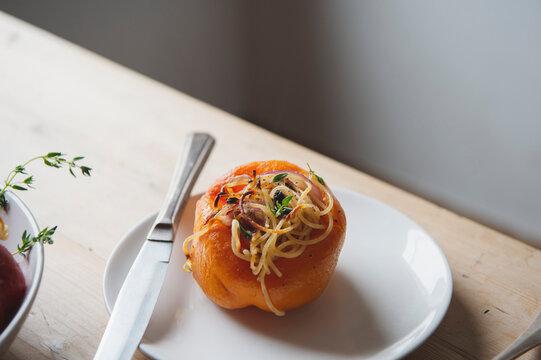 Spaghetti-Stuffed Roasted Peppers