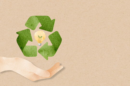 Recycle background  with hand support sustainable idea watercolor