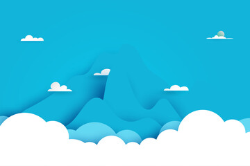 Fototapeta Clouds and Mountains nature landscape scenery banner background paper art style.Vector illustration.