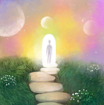 surreal illustration. silhouette of a person in the doorway, a portal between worlds, a spiritual being, spiritual issues of existence