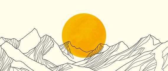 Fototapeta landscape wallpaper design with Golden mountain line arts, luxury background design for cover, invitation background, packaging design, fabric, and print. Vector illustration. obraz