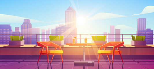 Restaurant on terrace on rooftop with city view. Empty patio on roof or balcony with cafe furniture, table, chairs and plants at sunny day. Vector cartoon illustration of house terrace in town