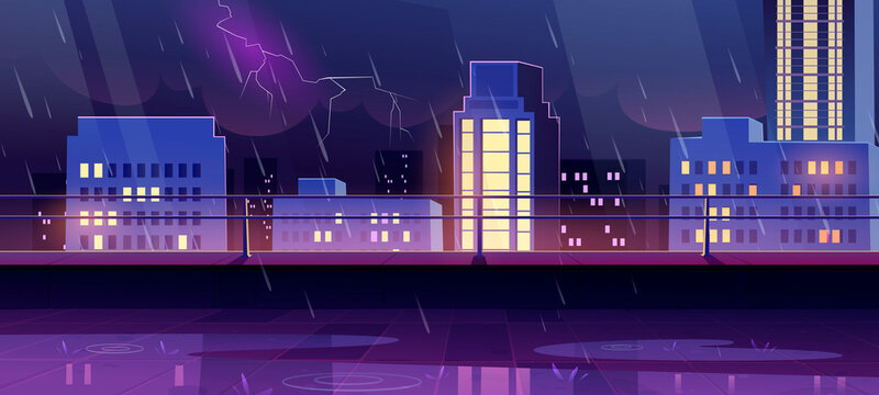 Terrace on rooftop at night storm, city view from empty patio on roof with railing on cityscape background with modern buildings and skyscrapers under rain and lightnings, Cartoon vector illustration