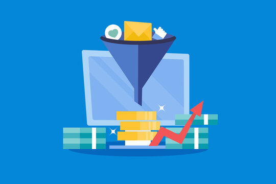 Conversion optimization - digital marketing and online advertising strategy helping sales funnel increase conversion rate, making more money concept.