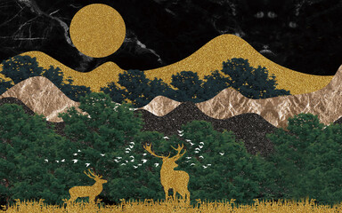 Flat abstract landscape with dark marble sky, golden hills, deer and full moon