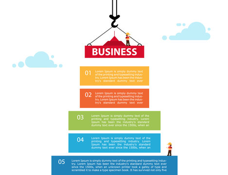 5 step chart info graphic. Crane and building color block.