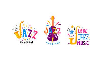 Fototapeta Colorful Logos for Jazz Music Festival or Live Concert Vector Set