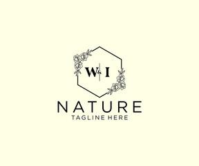 Fototapeta initial WI letters Botanical feminine logo template floral, editable premade monoline logo suitable, Luxury feminine wedding branding, corporate. obraz