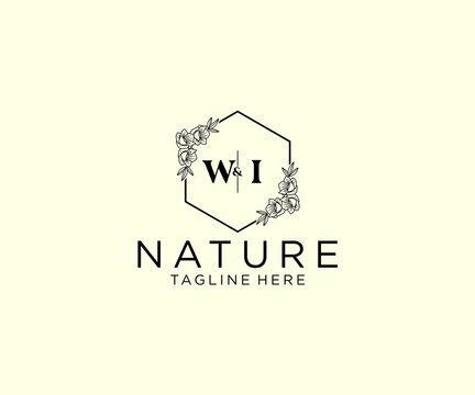 initial WI letters Botanical feminine logo template floral, editable premade monoline logo suitable, Luxury feminine wedding branding, corporate.