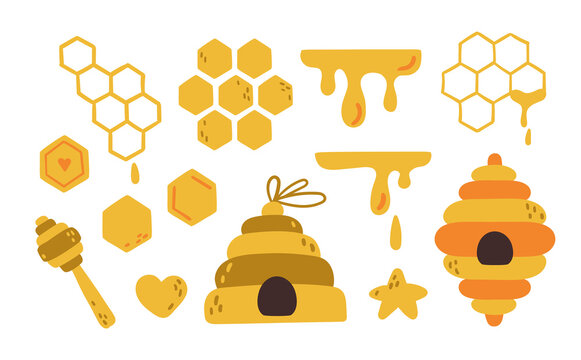 Honey bee elements cartoon kids isolated clip art bundle