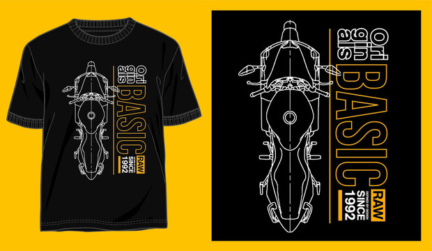 illustration of motorcycle and typography vector for t shirt design