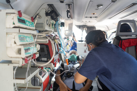 A medical device installed inside a medical helicopter. Used for emergency evacuation