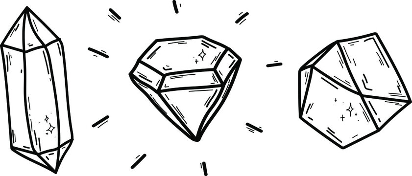 Doodles crystals isolated line. Hand drawn vector illustrations. Sketch for a tattoo.