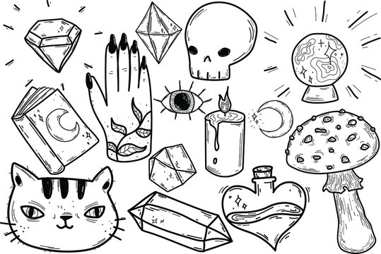 Magic Doodles, Mystical Collection, Crystals, Moon, Black Cat, Halloween Set, Coloring, Witchcraft, witch stickers isolated line. Hand drawn vector illustrations. Sketch for a tattoo.