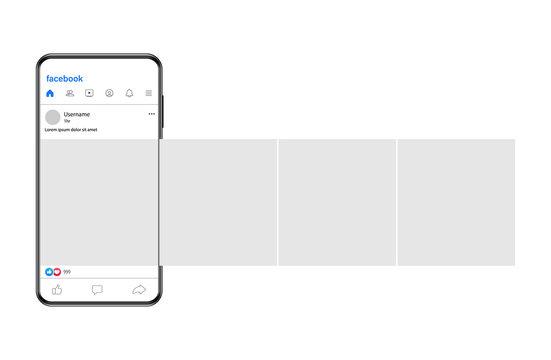 Polotsk, Belarus, April 21 2021: Mockup of Facebook post on a smartphone screen.