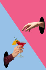 Contemporary art collage, modern design. Party mood. Bright colored hand giving tasty cocktail