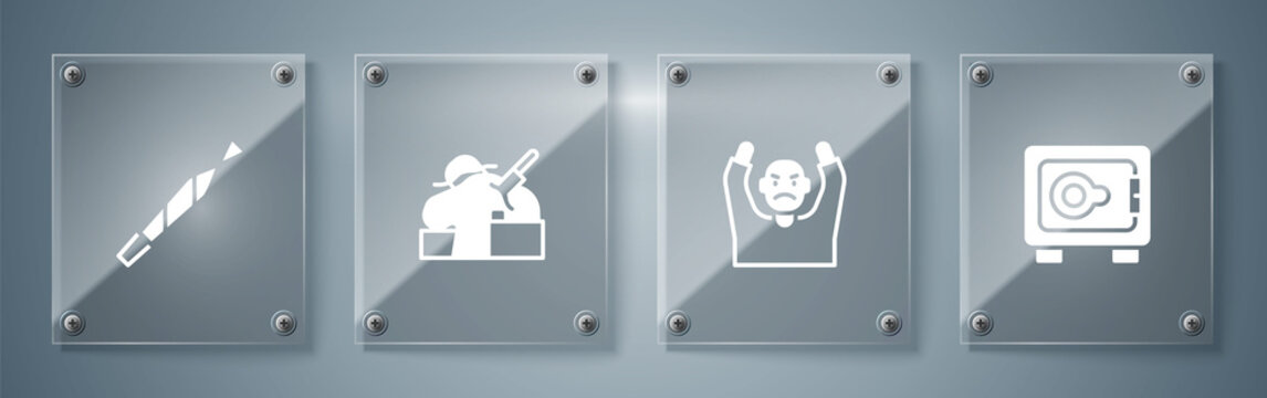 Set Safe, Thief surrendering hands up, Murder and Marijuana joint. Square glass panels. Vector