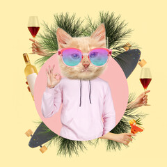 Contemporary art collage, modern design. Party mood. Man in pink outfit headed by stylish cat...