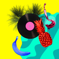 Contemporary art collage, modern design. Party mood. Pineapple, banana and glass of wine in pool with bright summer colors.
