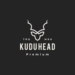 Fototapeta kudu head hipster vintage logo vector icon illustration