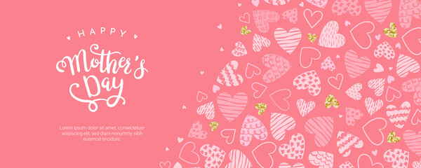 Fototapeta Cute Mother's Day banner design, lovely hand drawn hearts and hand lettering - vector design