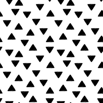 black and white seamless pattern with tiny triangles, endless repeatable texture