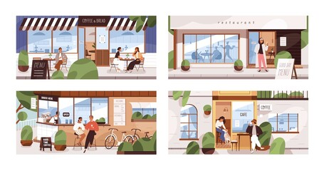 People drinking and eating outside on cafe and restaurant terraces, in coffee shops and small cafeterias. Set of men and women sitting at street tables on patio. Colored flat vector illustration