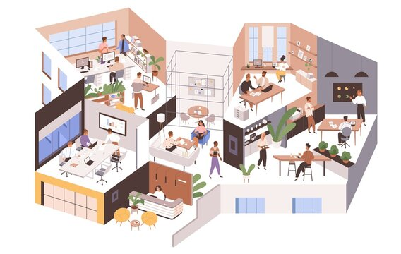 Inside large office with different rooms, work areas and spaces. Modern workspace interior with people. Company as big organism concept. Colored flat graphic vector illustration isolated on white