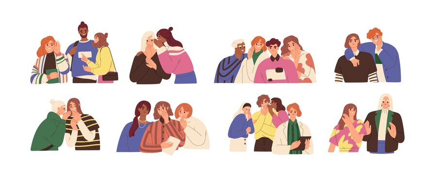 Happy and unhappy people gossiping, whispering in ear, slandering, spreading secrets, rumors, confidential information and news. Colored flat graphic vector illustration isolated on white background