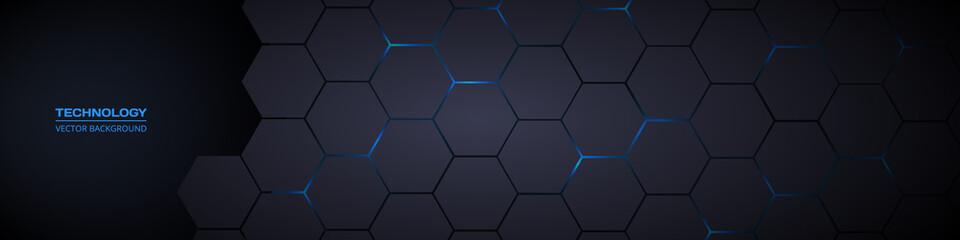 Fototapeta Dark gray and blue horizontal hexagonal technology abstract vector background. Blue bright energy flashes under hexagon in futuristic modern technology wide banner. Dark gray honeycomb texture grid.