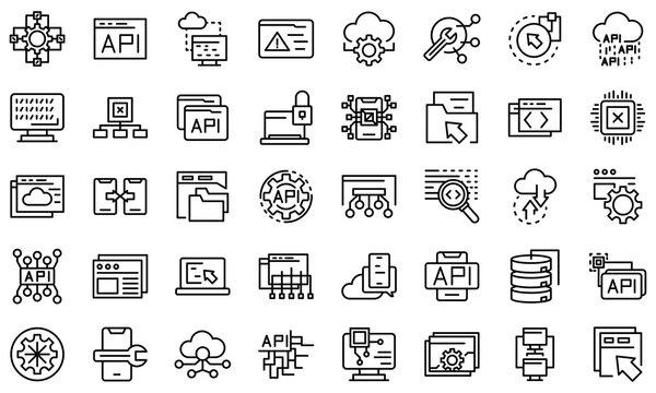 API icons set. Outline set of API vector icons for web design isolated on white background